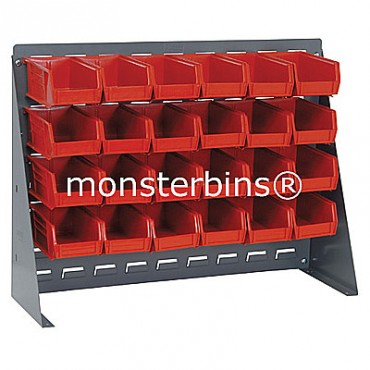 Bench Rack with 24 QUS220 Bins - Red