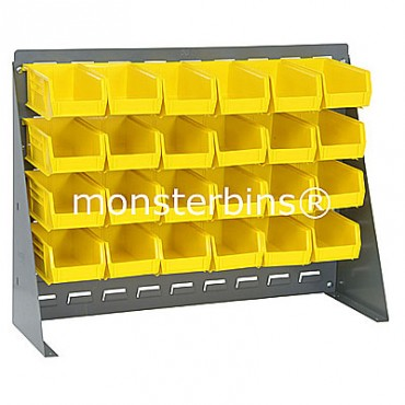 Bench Rack with 24 QUS220 Bins - Yellow
