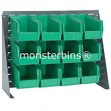 Bench Rack with 12 QUS230 Bins - Green