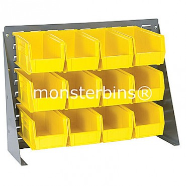 Bench Rack with 12 QUS230 Bins - Yellow