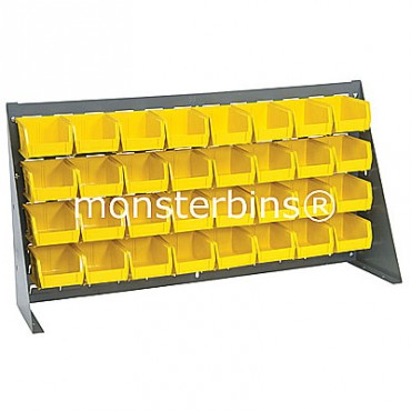Bench Rack with 32 QUS210 Bins - Yellow