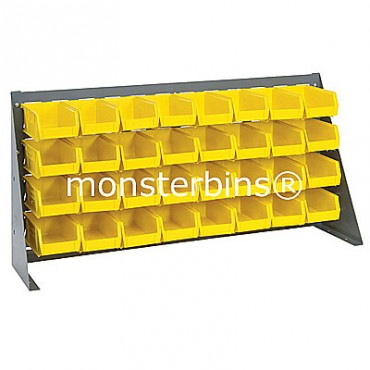 Bench Rack with 32 QUS220 Bins - Yellow