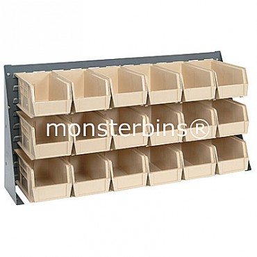 Bench Rack with 18 QUS230 Bins - Ivory