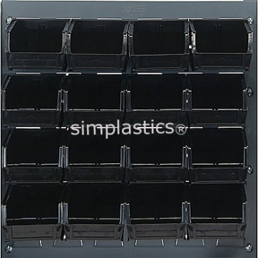 Louvered Panel With 16 MB210 Bins - Black