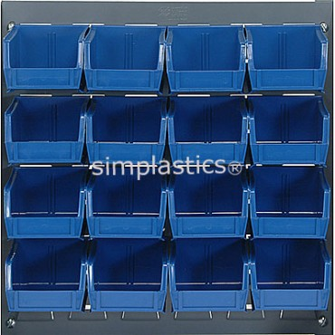 Louvered Panel With 16 QUS210 Bins - Blue