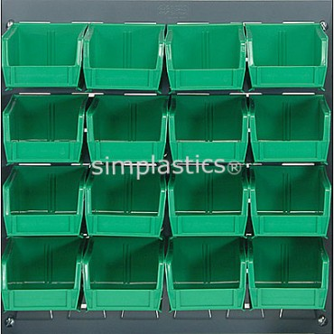 Louvered Panel With 16 QUS220 Bins - Green