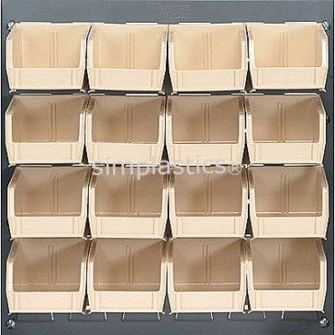 Louvered Panel With 16 QUS220 Bins - Ivory