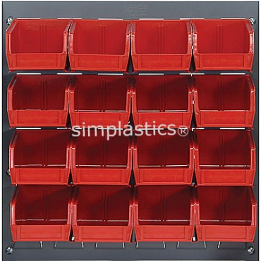 Louvered Panel With 16 QUS220 Bins - Red
