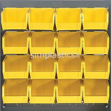 Louvered Panel With 16 QUS220 Bins - Yellow