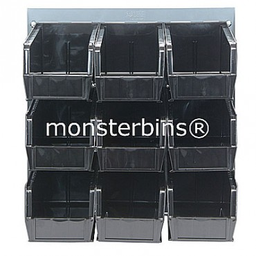 Louvered Panel With 9 QUS230 Bins - Black