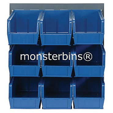Louvered Panel With 9 QUS230 Bins - Blue