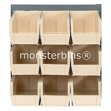 Louvered Panel With 9 QUS230 Bins - Ivory