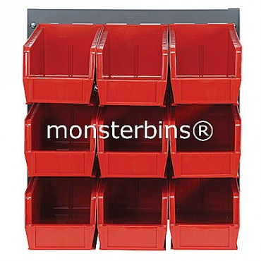 Louvered Panel With 9 QUS230 Bins - Red