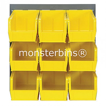 Louvered Panel With 9 QUS230 Bins - Yellow