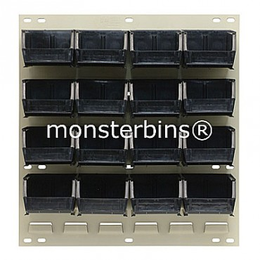 Louvered Panel With 16 QUS220 Bins - Black