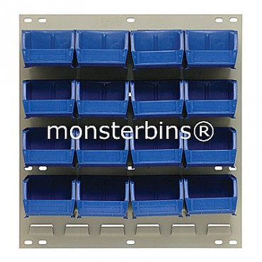 Louvered Panel With 16 MB210 Bins - Blue