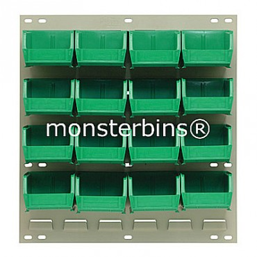 Louvered Panel With 16 QUS210 Bins - Green