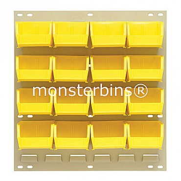 Louvered Panel With 16 QUS210 Bins - Yellow