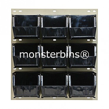 Louvered Panel With 9 MB230 Bins - Black