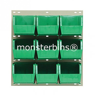 Louvered Panel With 9 QUS230 Bins - Green