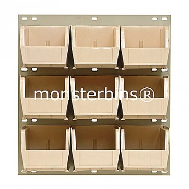 Louvered Panel With 9 MB230 Bins - Ivory