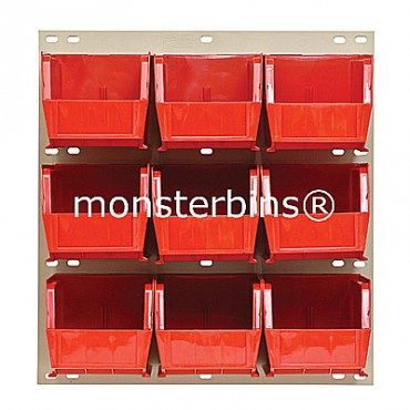 Louvered Panel With 9 MB230 Bins - Red