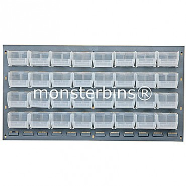 Louvered Panel With 32 QUS210 Clear Bins