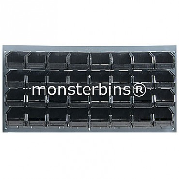 Louvered Panel With 32 QUS210 Bins - Black