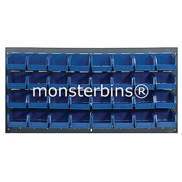 Louvered Panel With 32 QUS210 Bins - Blue