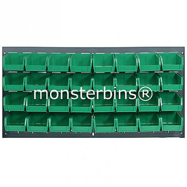 Louvered Panel With 32 QUS210 Bins - Green