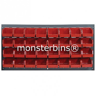 Louvered Panel With 32 QUS220 Bins - Red