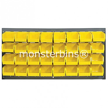 Louvered Panel With 32 QUS220 Bins - Yellow