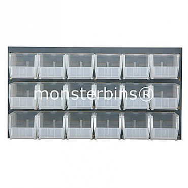Louvered Panel With 18 MB230 Clear Bins