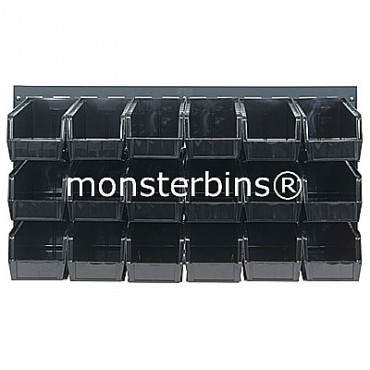 Louvered Panel With 18 QUS230 Bins - Black