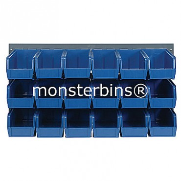 Louvered Panel With 18 QUS230 Bins - Blue