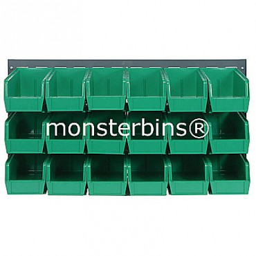 Louvered Panel With 18 MB230 Bins - Green