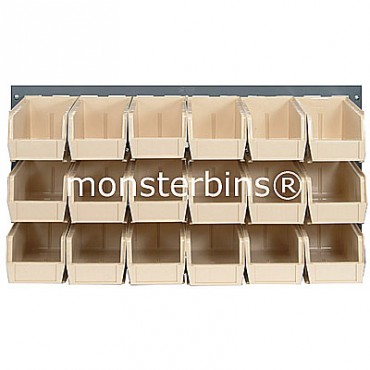 Louvered Panel With 18 MB230 Bins - Ivory