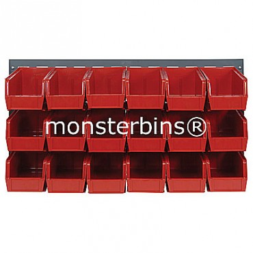 Louvered Panel With 18 QUS230 Bins - Red