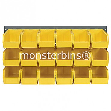 Louvered Panel With 18 QUS230 Bins - Yellow