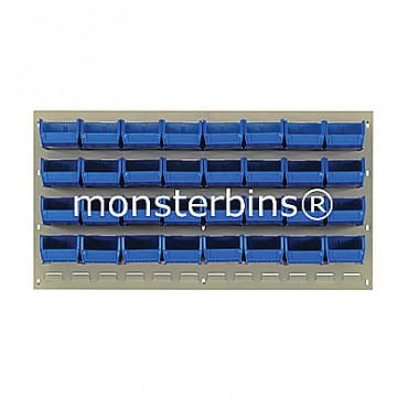 Beige Louvered Panel With 32 QUS210 Bins - Blue