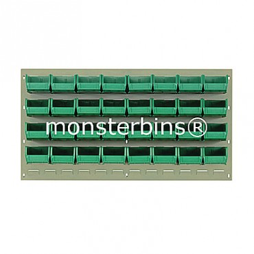 Beige Louvered Panel With 32 QUS210 Bins - Green