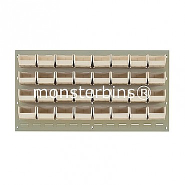 Beige Louvered Panel With 32 QUS210 Bins - Ivory