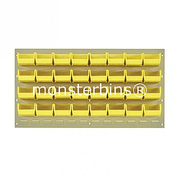 Beige Louvered Panel With 32 QUS210 Bins - Yellow