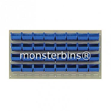 Beige Louvered Panel With 32 QUS220 Bins - Blue