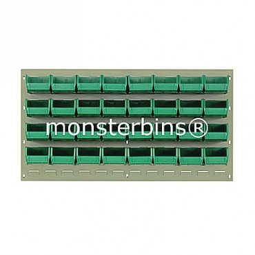 Beige Louvered Panel With 32 QUS220 Bins - Green