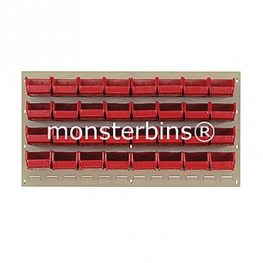 Beige Louvered Panel With 32 QUS220 Bins - Red