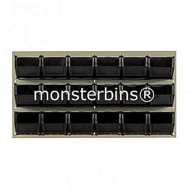 Beige Louvered Panel With 18 MB230 Bins - Black