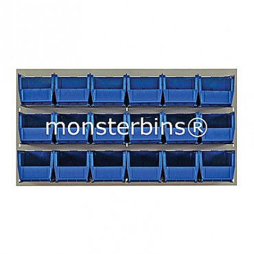Beige Louvered Panel With 18 QUS230 Bins - Blue