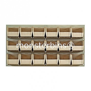 Beige Louvered Panel With 18 QUS230 Bins - Ivory