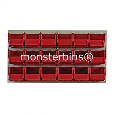 Beige Louvered Panel With 18 MB230 Bins - Red